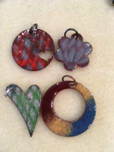 Multi-colored enameled pendants