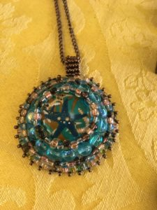 Beaded bezel (which is a bead). Another great color combination.